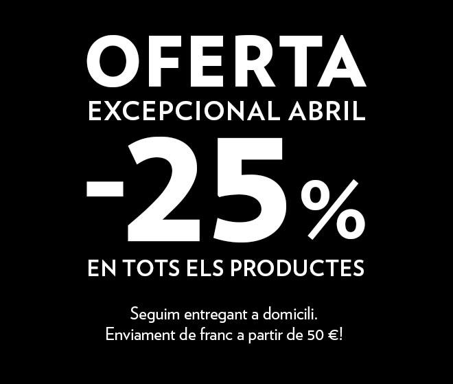 25 % de descompte en tots els nostres productes