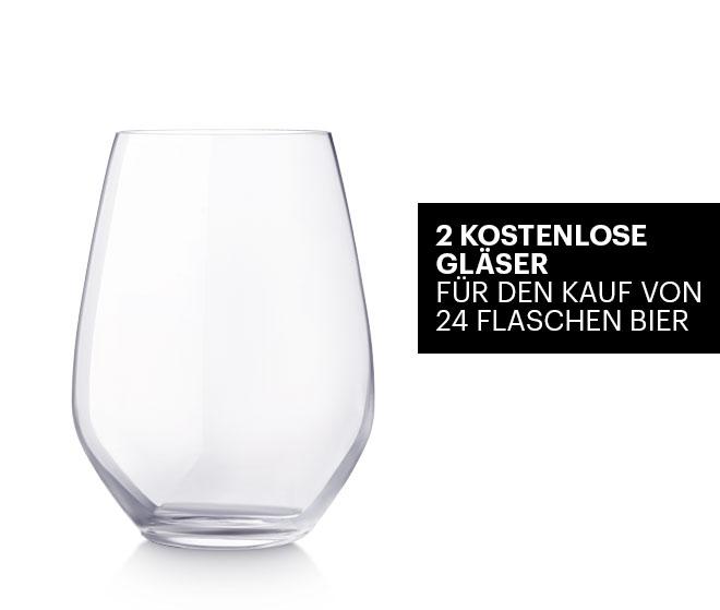 2 Kostenlose Gläser für den Kauf von 24 Flaschen Bier