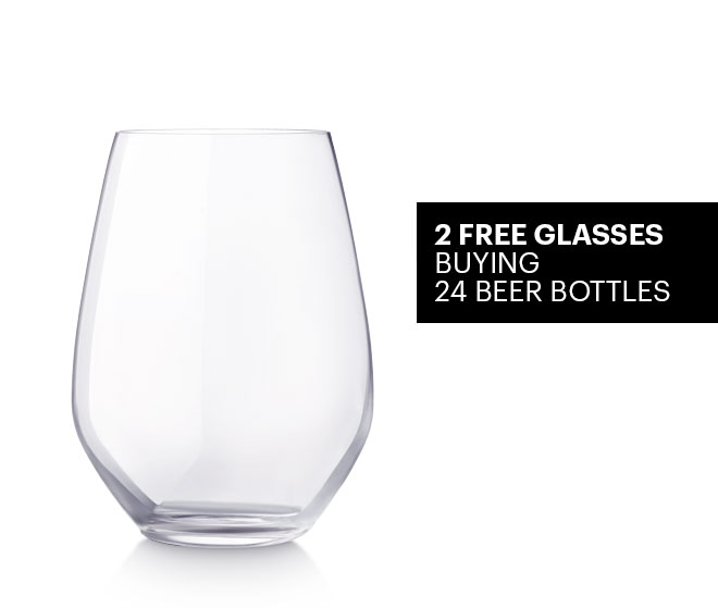 2 beer glasses for free buying 24 bottles