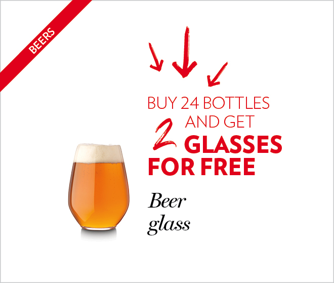 Buy 24 bottles and get 2 glasses for free