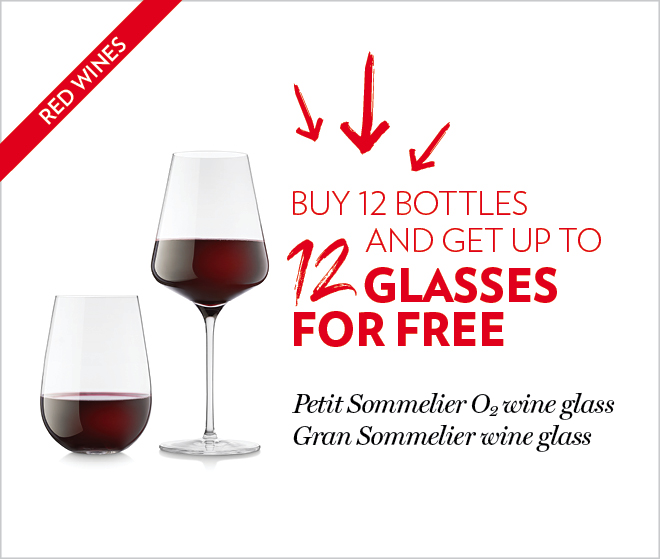 Buy 12 bottles and get up to 12 glasses for free