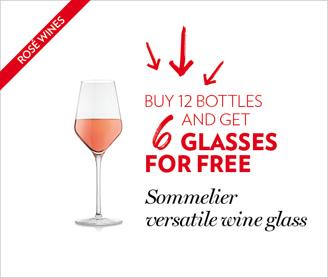 Buy 12 bottles and get 6 glasses for free