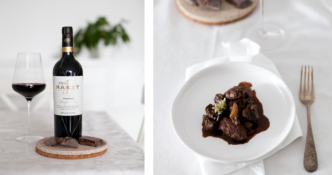 Estofado de ternera al vino tinto con chocolate