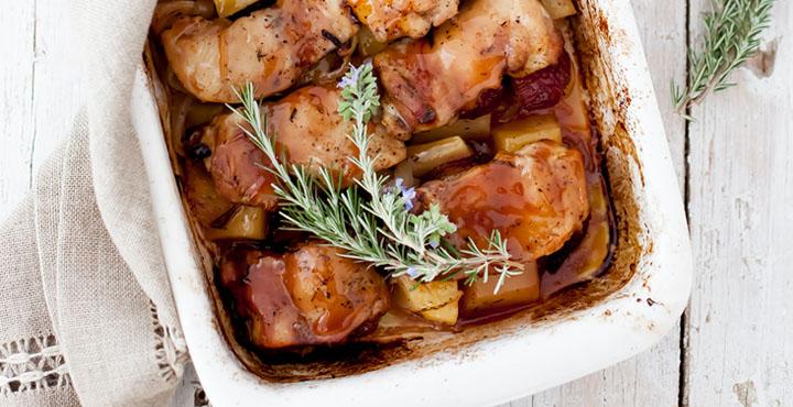 Receta de pollo al horno con ciruelas maridado con Syrah