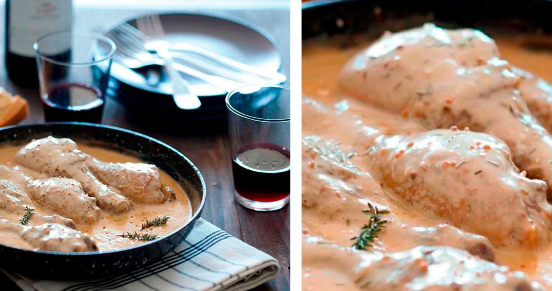 Pollastre a la mostassa amb crème fraîche