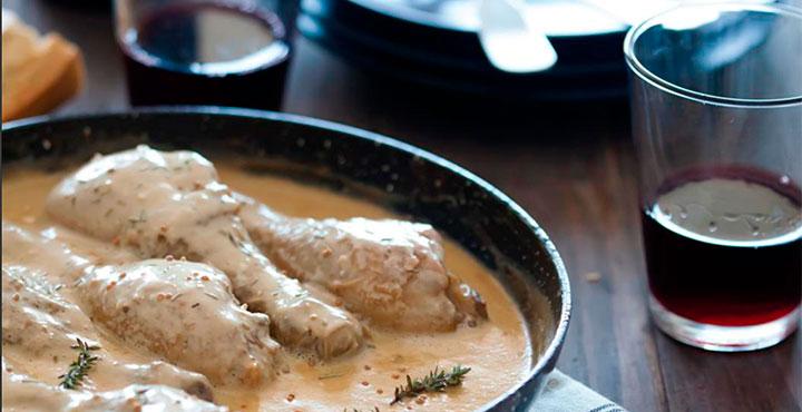 Pollo a la mostaza con crème fraîche